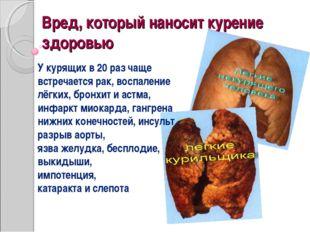 Вред, который наносит курение здоровью У курящих в 20 раз чаще встречается ра