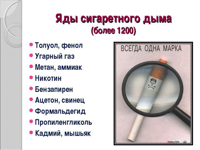 Яды сигаретного дыма (более 1200) Толуол, фенол Угарный газ Метан, аммиак Ник...