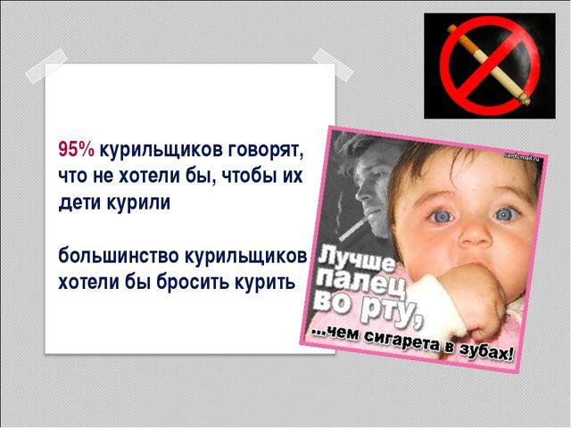 95% курильщиков говорят, что не хотели бы, чтобы их дети курили большинство к...