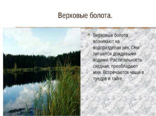 Верховые болота. Верховые болота возникают на водоразделах рек. Они питаются