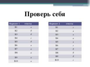 Проверь себя Вариант 1 ответы В1 в В2 б В3 б В4 г В5 б В6 в В7 а В8 а В9 а В