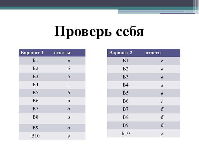 Проверь себя Вариант 1 ответы В1 в В2 б В3 б В4 г В5 б В6 в В7 а В8 а В9 а В...