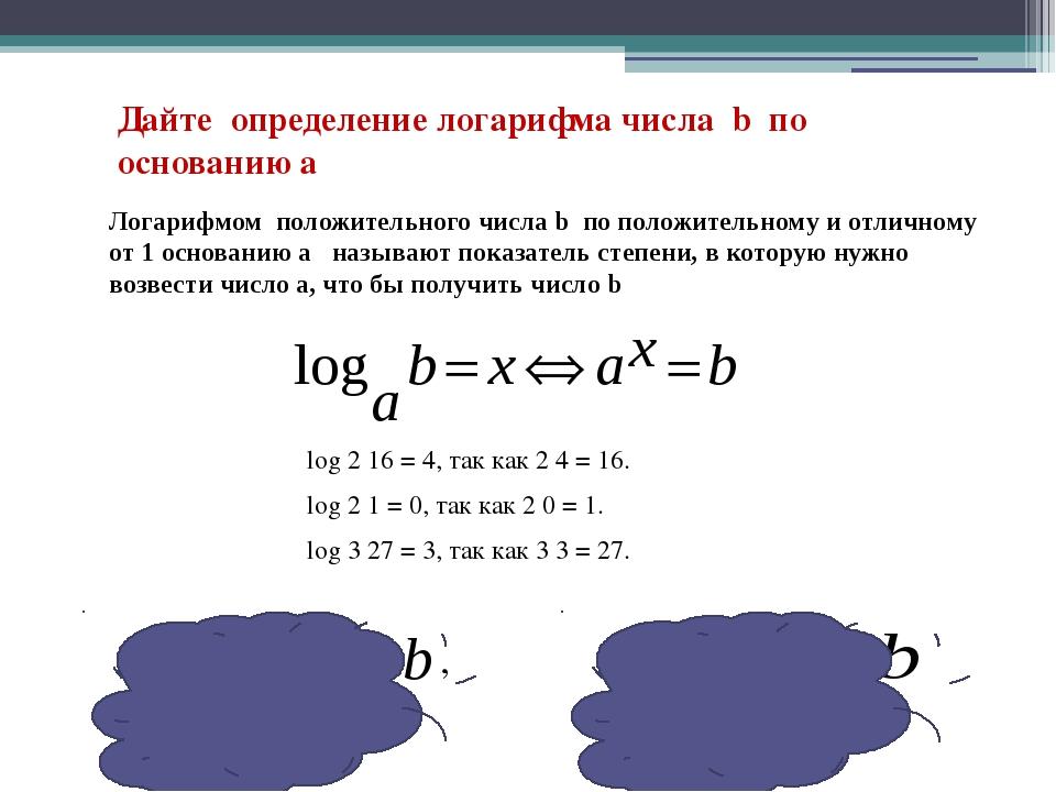 Дайте определение логарифма числа b по основанию а log 2 16 = 4, так как 2 4...