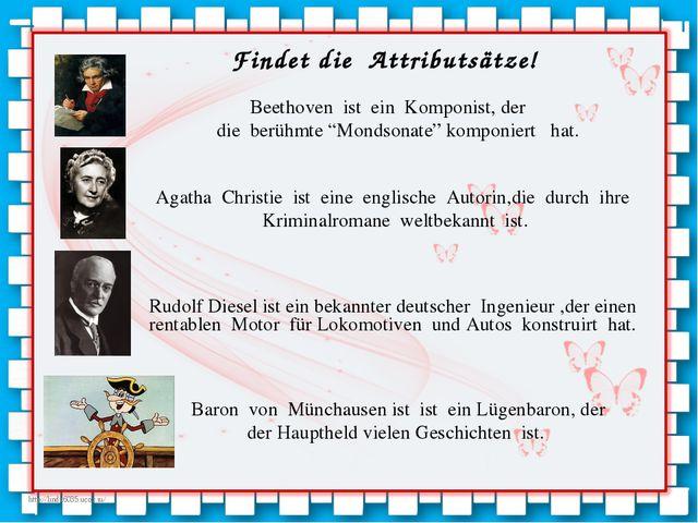 """Beethoven ist ein Komponist, der die berühmte """"Mondsonate"""" komponiert hat. Ag..."""