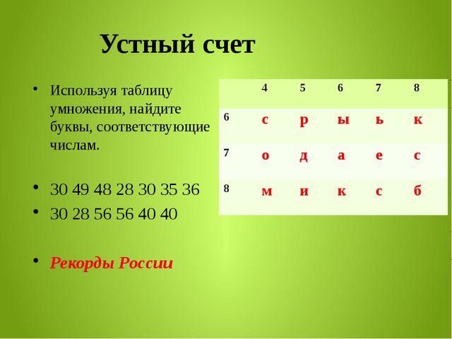 Устный счет Используя таблицу умножения, найдите буквы, соответствующие числа...