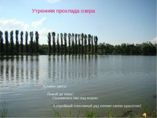 Утренняя прохлада озера Славно здесь! Покой да тишь! Склонилась ива над водою