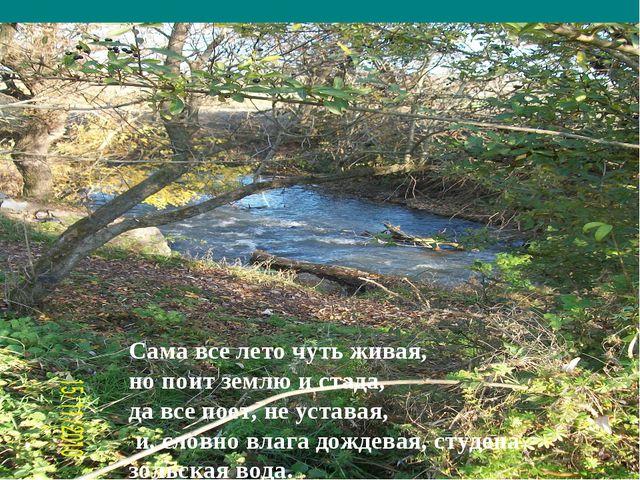 Сама все лето чуть живая, но поит землю и стада, да все поет, не уставая, и,...