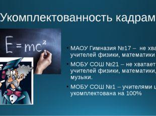 4.Укомплектованность кадрами МАОУ Гимназия №17 – не хватает учителей физики,