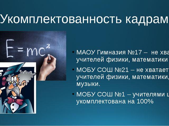 4.Укомплектованность кадрами МАОУ Гимназия №17 – не хватает учителей физики,...