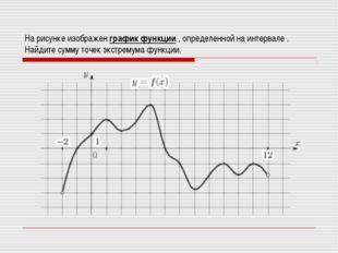 На рисунке изображен график функции , определенной на интервале . Найдите сум