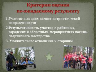 1.Участие в акциях военно-патриотической направленности 2.Результативность уч