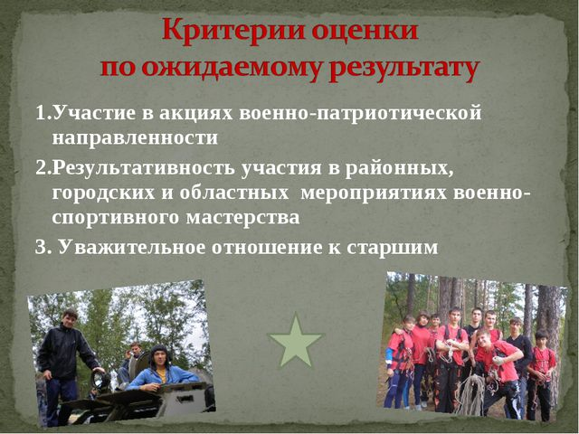 1.Участие в акциях военно-патриотической направленности 2.Результативность уч...