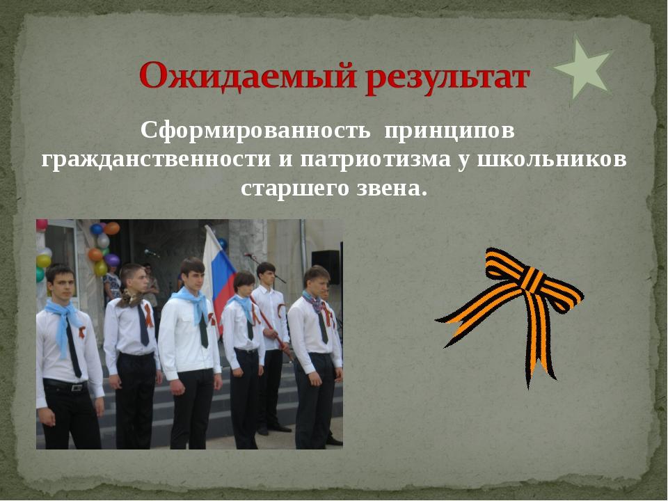 Сформированность принципов гражданственности и патриотизма у школьников старш...
