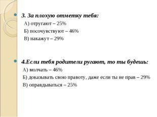3. За плохую отметку тебя: А) отругают – 25% Б) посочувствуют – 46% В) накаж