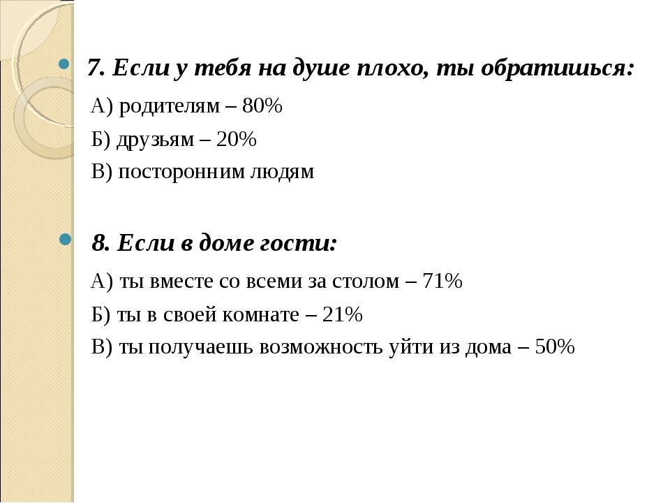 7. Если у тебя на душе плохо, ты обратишься: А) родителям – 80% Б) друзьям –...