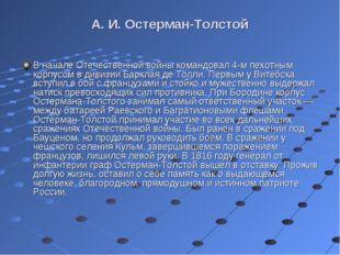 А. И. Остерман-Толстой В начале Отечественной войны командовал 4-м пехотным к