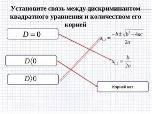 Установите связь между дискриминантом квадратного уравнения и количеством его