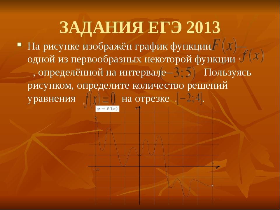 ЗАДАНИЯ ЕГЭ 2013 На рисунке изображён график функции — одной из первообразны...