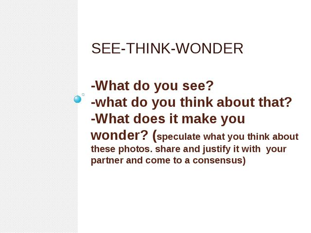 -What do you see? -what do you think about that? -What does it make you wonde...