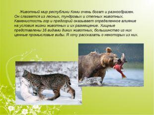 Животный мир республики Коми очень богат и разнообразен. Он слагается излес