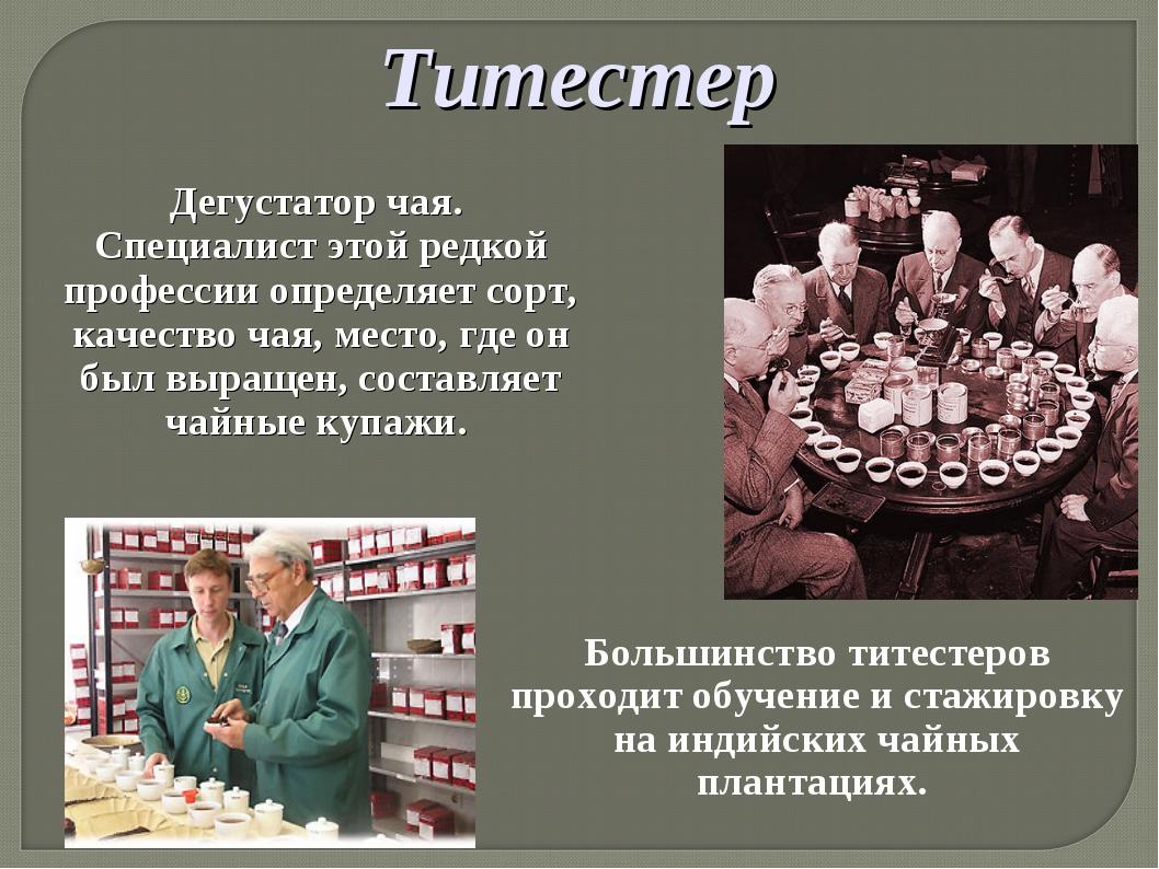Титестер Дегустатор чая. Специалист этой редкой профессии определяет сорт, ка...