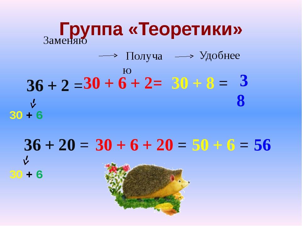 Группа «Теоретики» 36 + 2 = 36 + 20 = 30 + 6 30 + 6 30 + 6 + 2= 30 + 8 = 38 3...