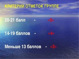 КРИТЕРИИ ОТМЕТОК ГРУППЕ 20-21 балл - «5» 14-19 баллов - «4» Меньше 13 баллов