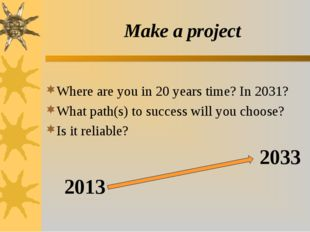 Make a project Where are you in 20 years time? In 2031? What path(s) to succe