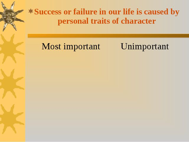 Success or failure in our life is caused by personal traits of character Most...