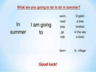 What are you going to do in do in summer? Good luck!  In summer I am going