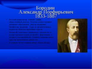 Бородин Александр Порфирьевич 1833-1887 Русский композитор, учёный- химик, о