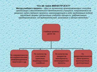 Что же такое МИНИ-ПРОЕКТ? Метод учебного проекта – один из личностно ориентир