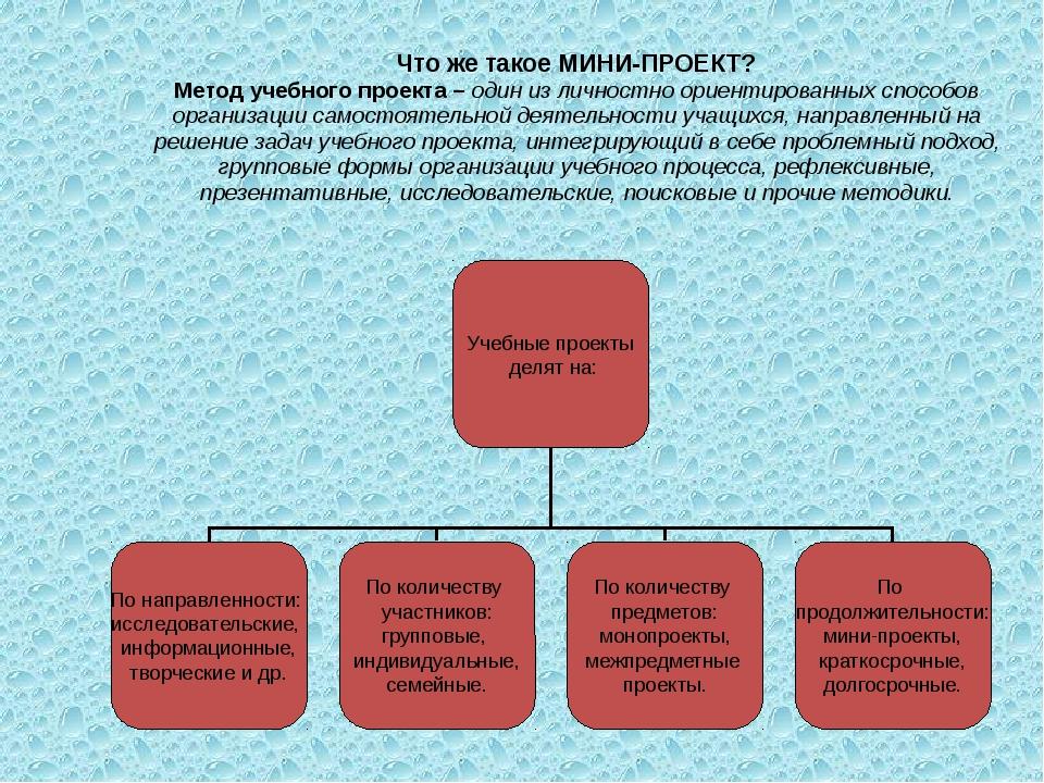 Что же такое МИНИ-ПРОЕКТ? Метод учебного проекта – один из личностно ориентир...