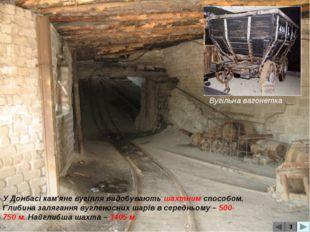 3 Вугільна вагонетка У Донбасі кам'яне вугілля видобувають шахтним способом.