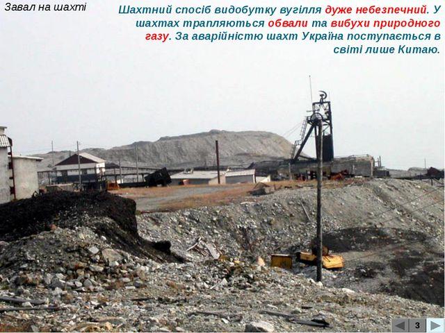 Завал на шахті 3 Шахтний спосіб видобутку вугілля дуже небезпечний. У шахтах...