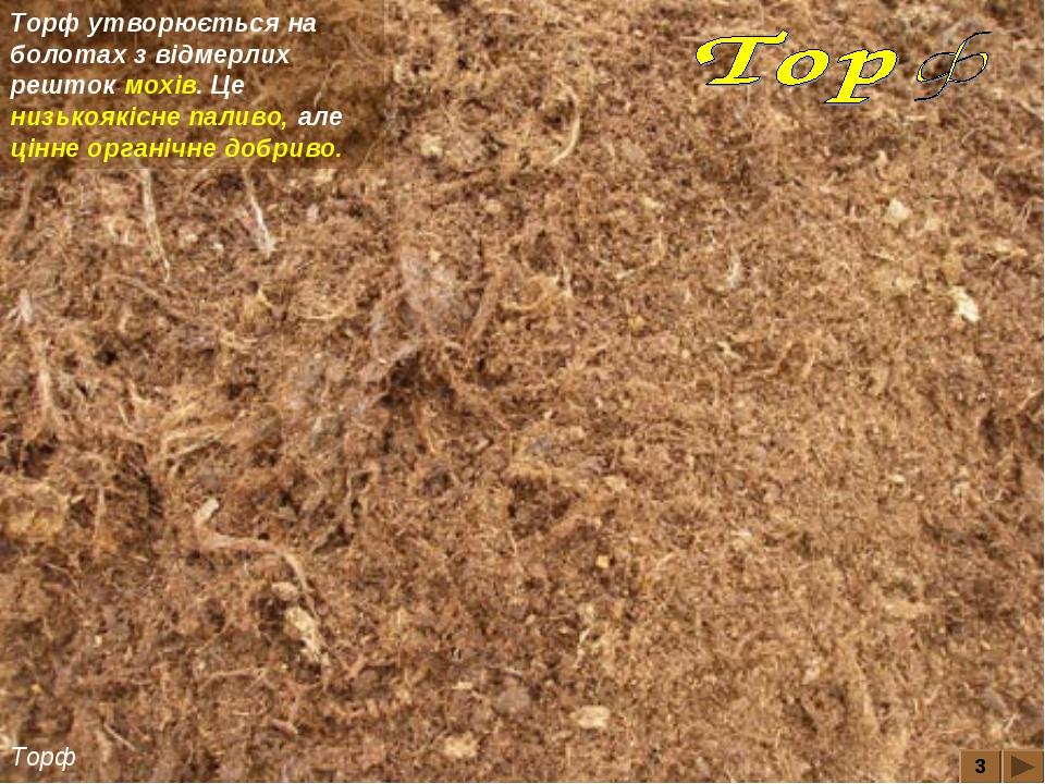 3 Торф Торф утворюється на болотах з відмерлих решток мохів. Це низькоякісне...
