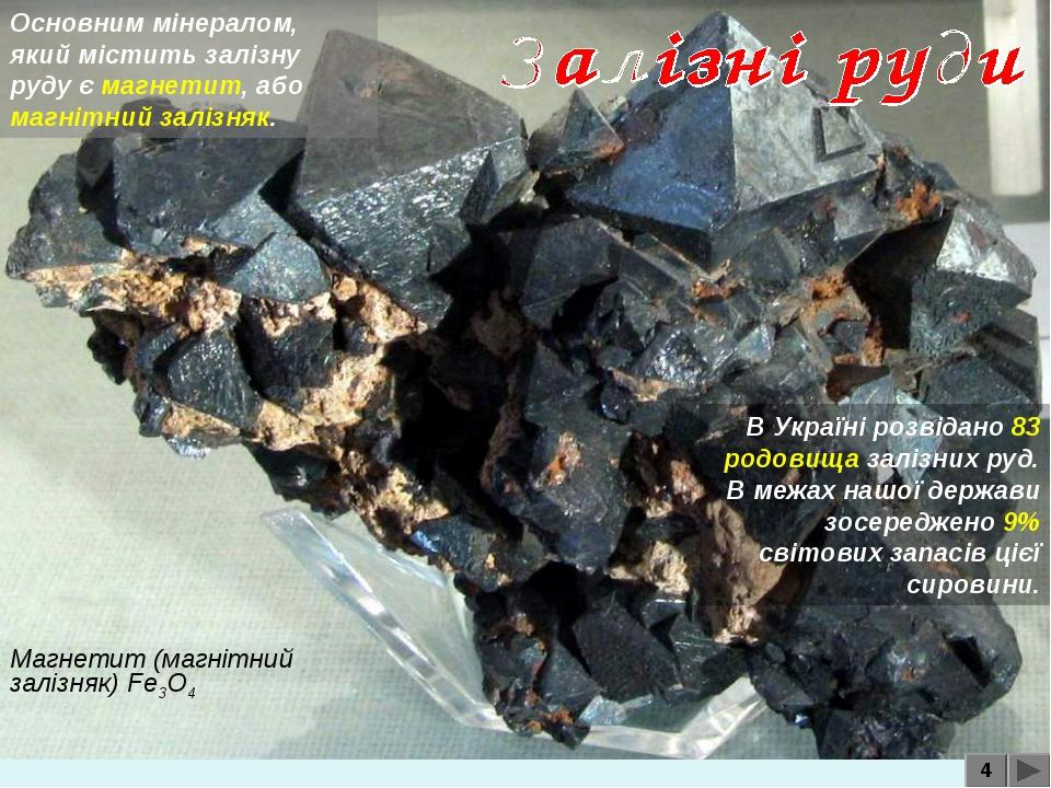 4 Магнетит (магнітний залізняк) Fe3O4 Основним мінералом, який містить залізн...
