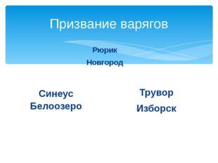 Призвание варягов Рюрик Новгород Трувор Изборск Синеус Белоозеро