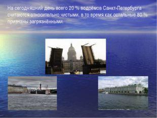 На сегодняшний день всего 20 % водоёмов Санкт-Петербурга считаются относител