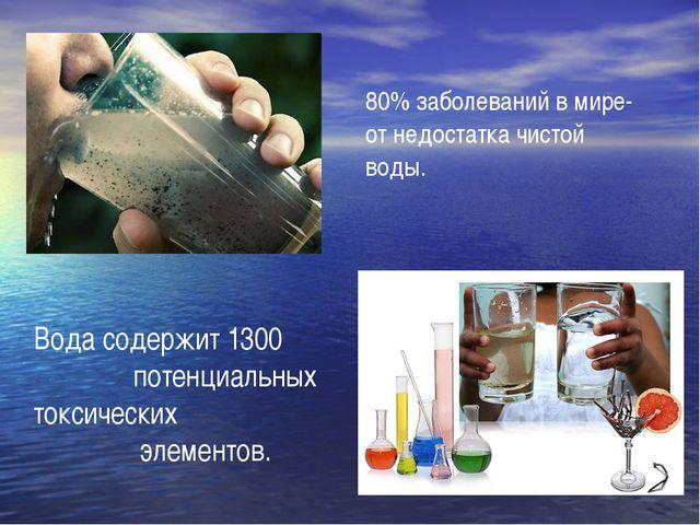 Вода содержит 1300 потенциальных токсических элементов. 80% заболеваний в ми...