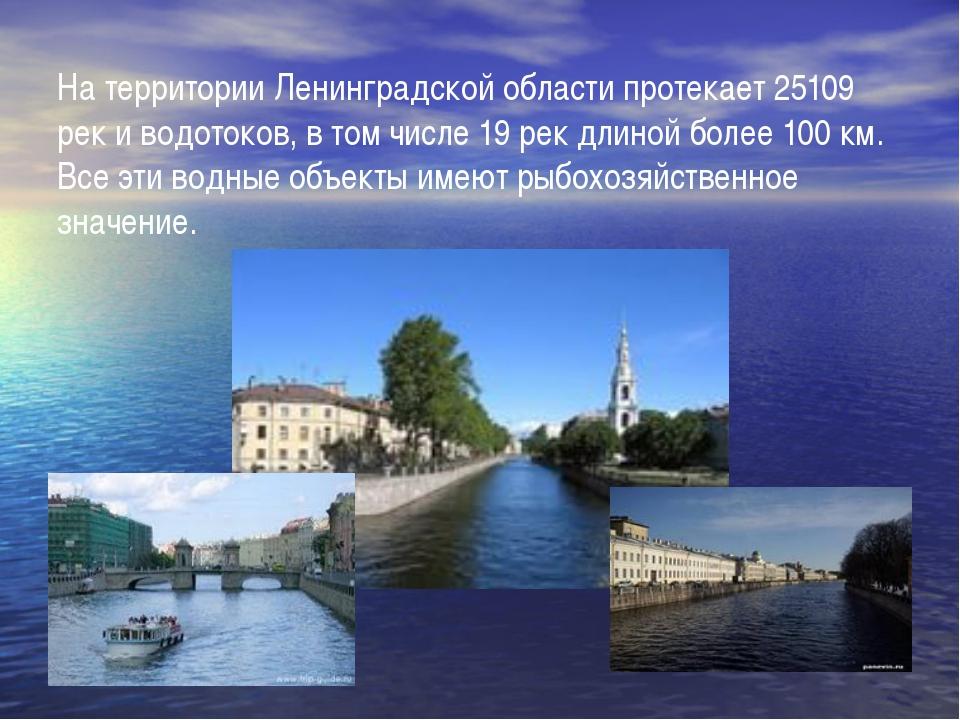 На территории Ленинградской области протекает 25109 pек и водотоков, в том чи...