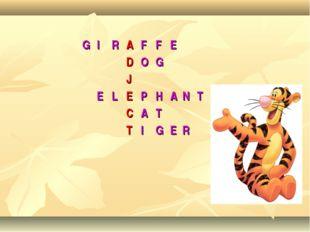 GIRAFFE DOG J ELEPHANT CAT TIGER