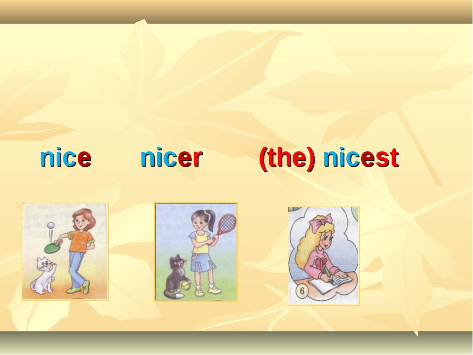 nice nicer (the) nicest