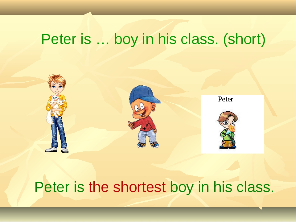 Peter is the shortest boy in his class. Peter is … boy in his class. (short)...
