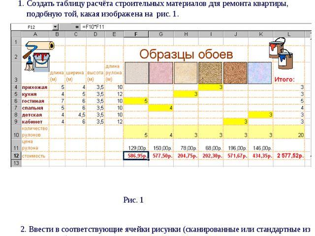 Практическая работа № 5 Табличный процессор Excel Вычисление по формулам, ко...