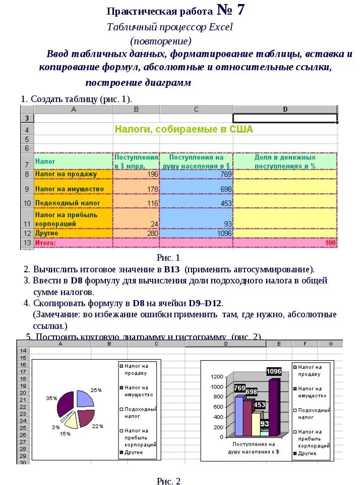 Практическая работа № 7 Табличный процессор Excel  (повторение) Ввод...