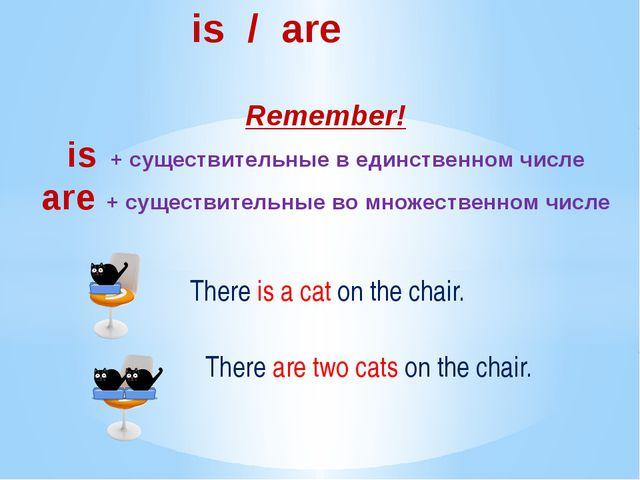 is / are Remember! is + существительные в единственном числе are + существит...