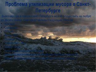 Проблема утилизации мусора в Санкт-Петербурге Вывоз мусора в городе Санкт-Пет