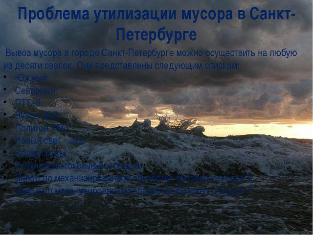 Проблема утилизации мусора в Санкт-Петербурге Вывоз мусора в городе Санкт-Пет...