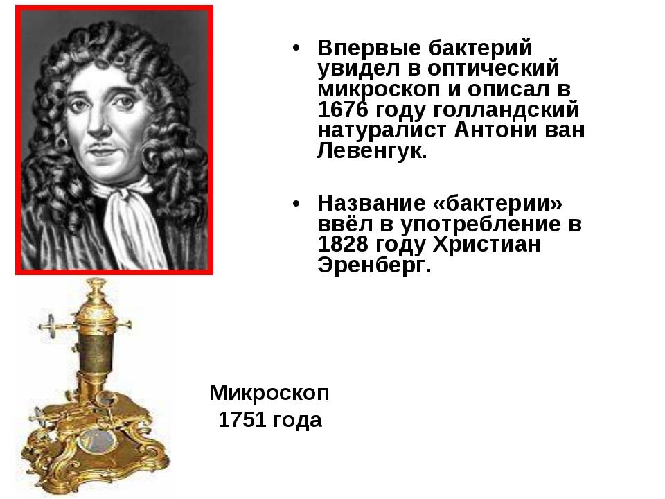 Впервые бактерий увидел в оптический микроскоп и описал в 1676 году голландск...